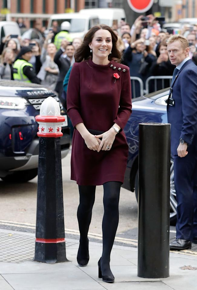 "<p>On 8 November 2017, Kate Middleton attended the Place2Be School Leader's Forum in London wearing a plum-hued tunic dress by <a rel=""nofollow"" href=""http://www.goatfashion.com/eloise-dress-plum"">Goat</a>.<br />The £480 number sold out in just two days. <em>[Photo: Getty]</em> </p>"