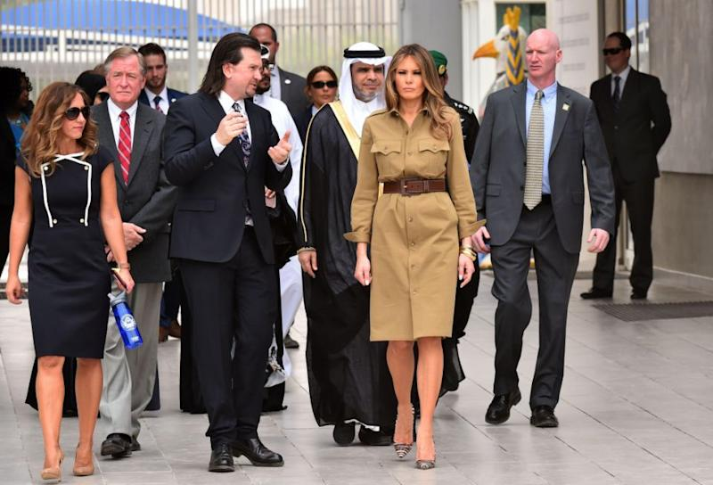 Melania's bare legs came under fire during a trip to the UAE. Photo: Getty
