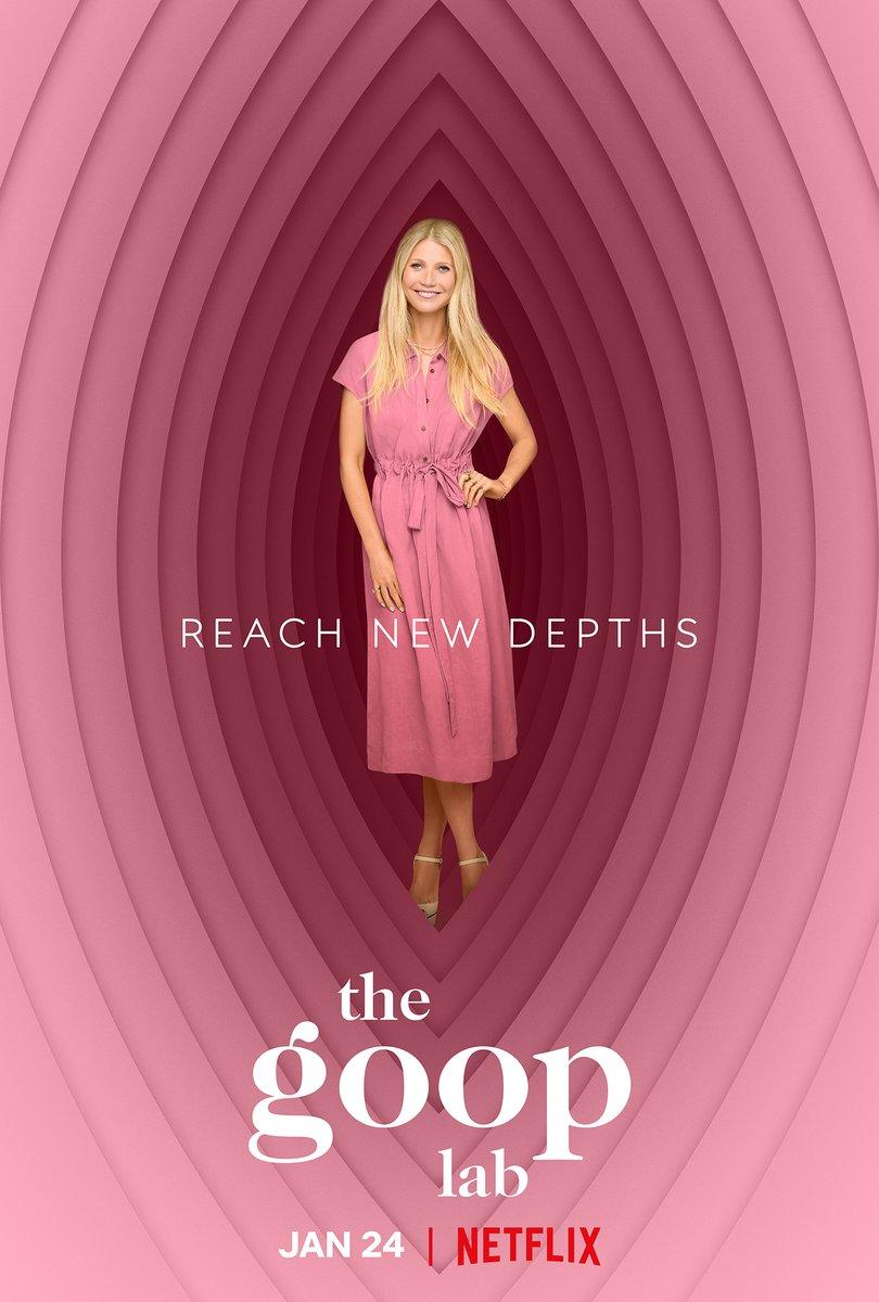 Gwyneth Paltrow in pink dress on 'vagina-like' background in Goop Lab Netflix poster