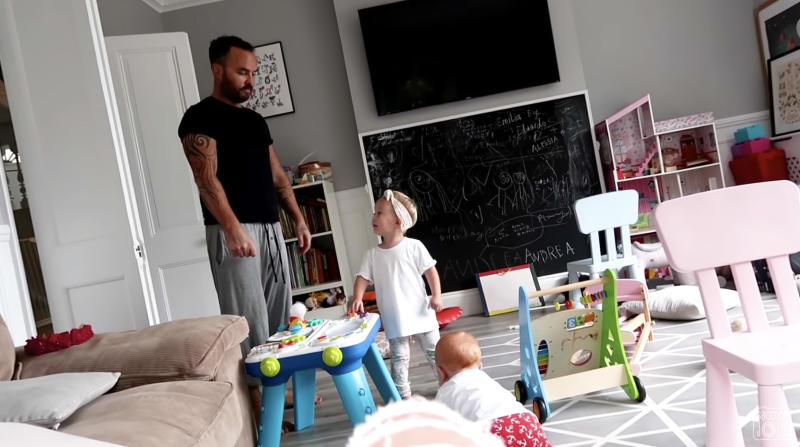 Dad Jonathan was heard telling the two year old, 'No more fun for you'. Photo: Youtube/SACCONEJOLYs