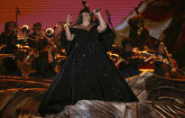 Lizzo performs a medley at the 62nd annual Grammy Awards on Sunday, Jan. 26, 2020, in Los Angeles. (Photo by Matt Sayles/Invision/AP)