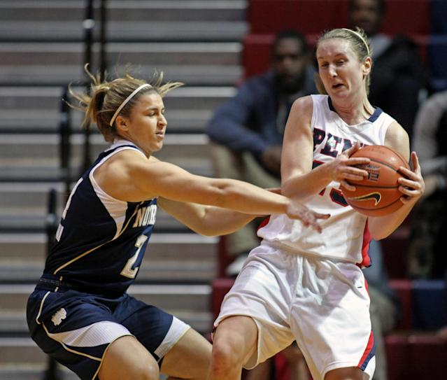 Notre Dame's Hannah Huffman, left and Penn's Katy Allen fight for a loose ball in the first half of an NCAA college basketball game Saturday Nov. 23, 2013, in Philadelphia. (AP Photo/H. Rumph Jr)