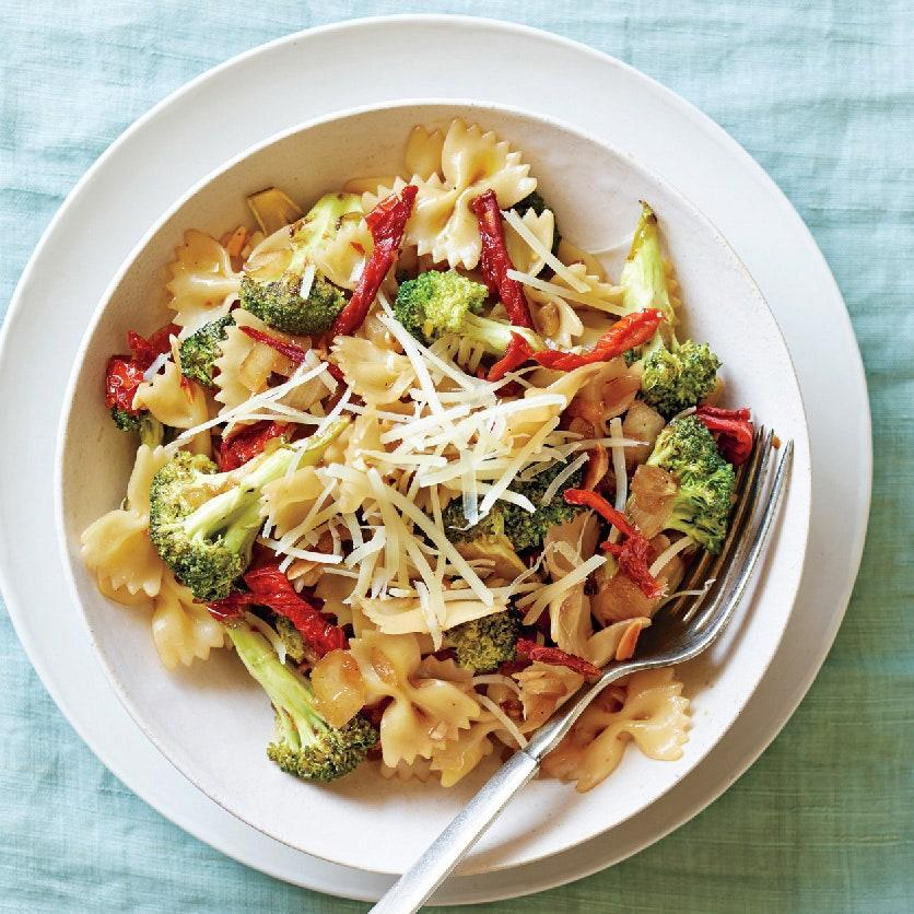 """A touch of both balsamic vinegar and maple syrup are a sweet contrast to the sharp grainy mustard in the sauce. <a href=""""https://www.epicurious.com/recipes/food/views/sun-dried-tomato-and-broccoli-pasta-51188620?mbid=synd_yahoo_rss"""" rel=""""nofollow noopener"""" target=""""_blank"""" data-ylk=""""slk:See recipe."""" class=""""link rapid-noclick-resp"""">See recipe.</a>"""
