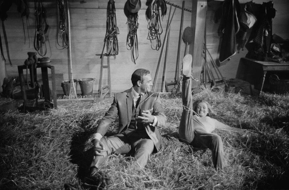 <p>Sean Connery and Honor Blackman rehearsing stunt scenes on the 'Goldfinger', 1964 set. </p>