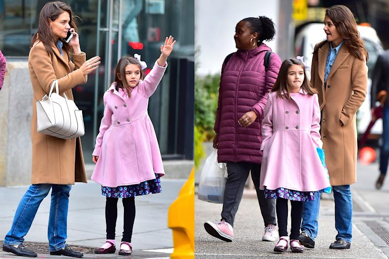 Katie Holmes and Suri Cruise Wear Matching Mother-Daughter Coats