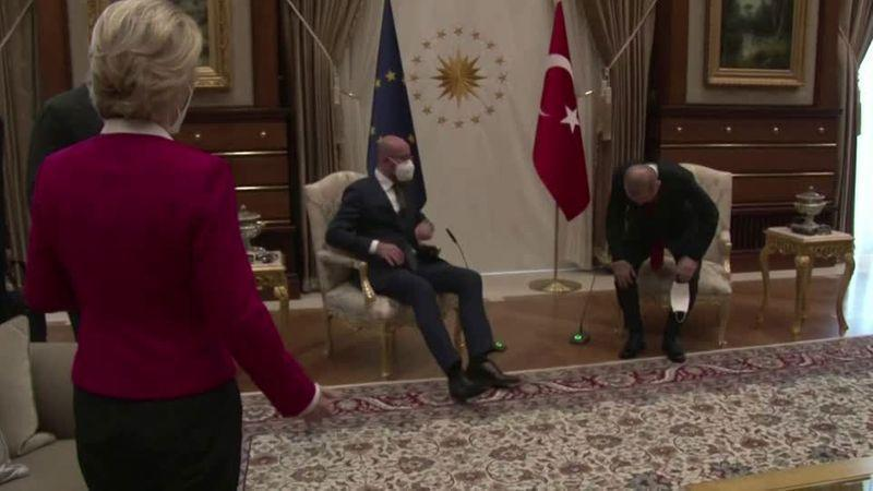 European Commission President Ursula von der Leyen was taken aback to find her fellow top EU official taking the only chair available next to Turkish President Tayyip Erdogan