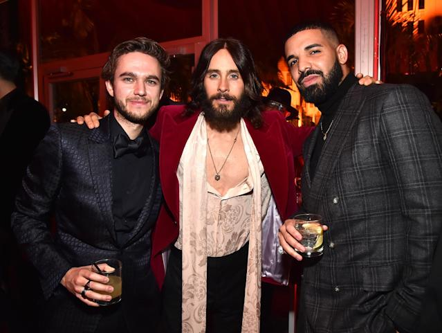 <p>A past winner for <em>Dallas Buyers Club</em>, Leto made the <em>Vanity Fair</em> scene with fellow musicmakers Zedd and Drake. (Photo: Kevin Mazur/VF18/WireImage) </p>