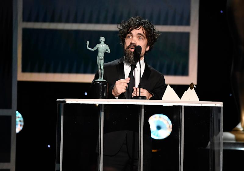 """Peter Dinklage accepts the award for outstanding performance by a male actor in a drama series for his role as Tyrion Lannister in """"Game of Thrones"""" during the 26th Annual Screen Actors Guild Awards."""
