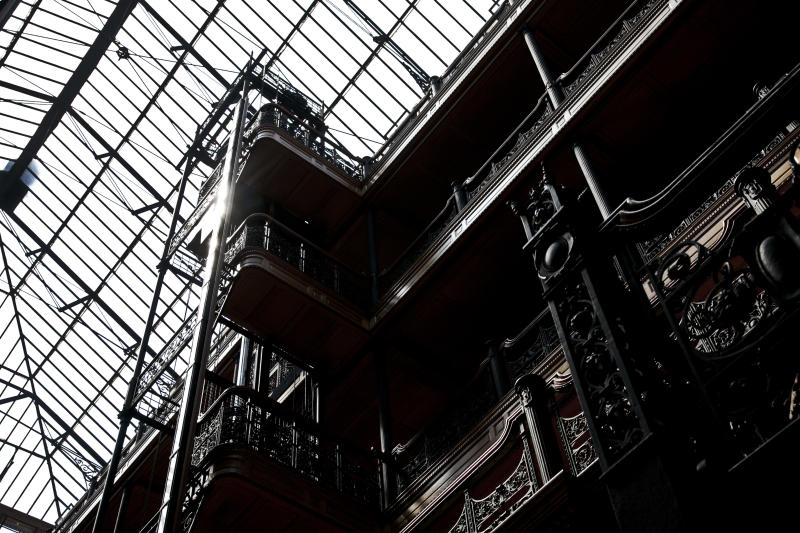 """Inside the Bradbury building. The historic building was featured in the film """"Blade Runner,"""" along with several other films. (Photo by Ted Soqui/Corbis via Getty Images)"""