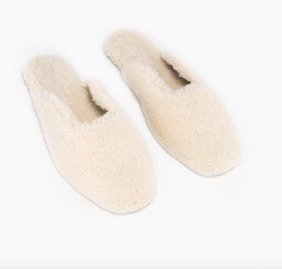 "<p>""<span>Sleeper's Shearling Slippers</span> ($290) are the epitome of a little winter luxury at home. I'll wear them during Thanksgiving dinner with my favorite lounge pants, and for a quick errand run, styled with jeans and an oversize sweater."" </p>"