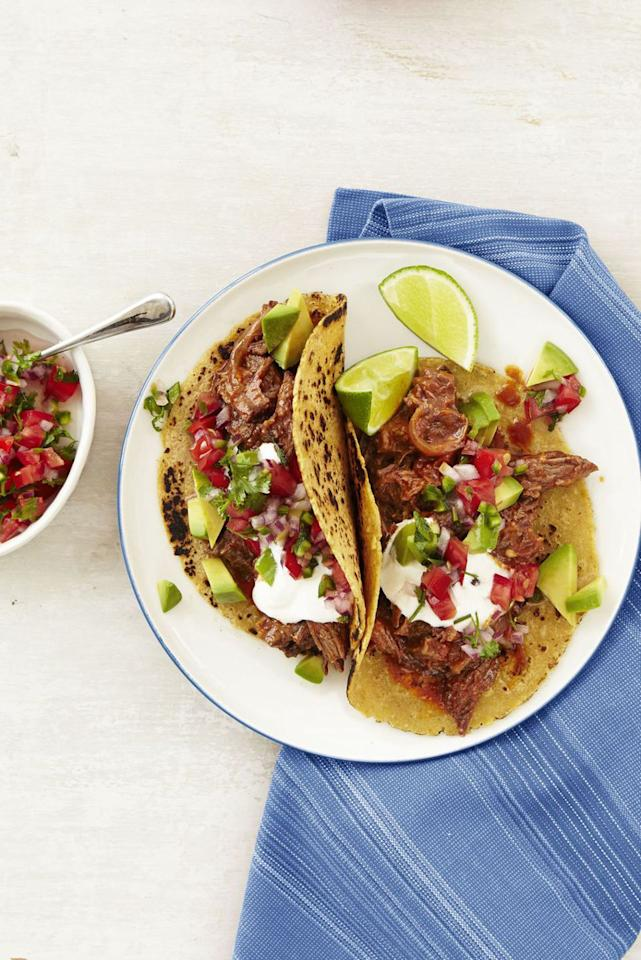"""<p>Take any fiesta to the next level with these flavorful beef tacos topped with fresh, spicy pico de gallo. </p><p><strong><a rel=""""nofollow"""" href=""""https://www.womansday.com/food-recipes/food-drinks/recipes/a12886/chipotle-beef-tacos-pico-de-gallo-recipe-wdy1014/"""">Get the recipe.</a></strong></p>"""