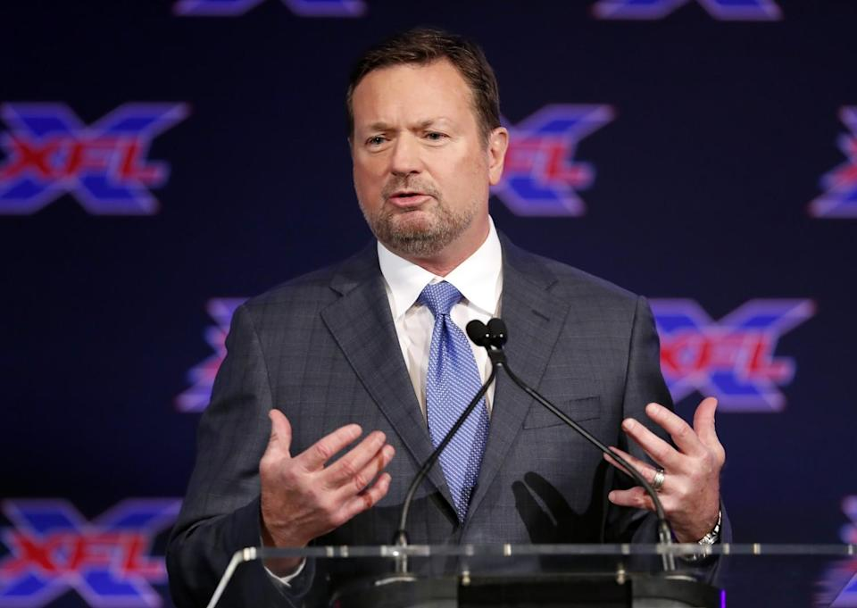 Former Oklahoma coach Bob Stoops speaks during an XFL news conference in February 2019.