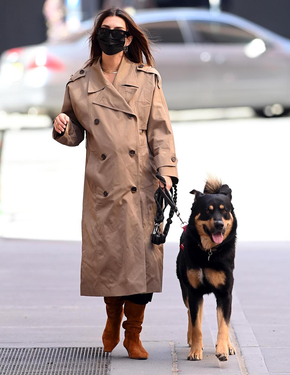 <p>Pregnant Emily Ratajkowski and her dog are almost color-coordinated on Friday in N.Y.C.</p>