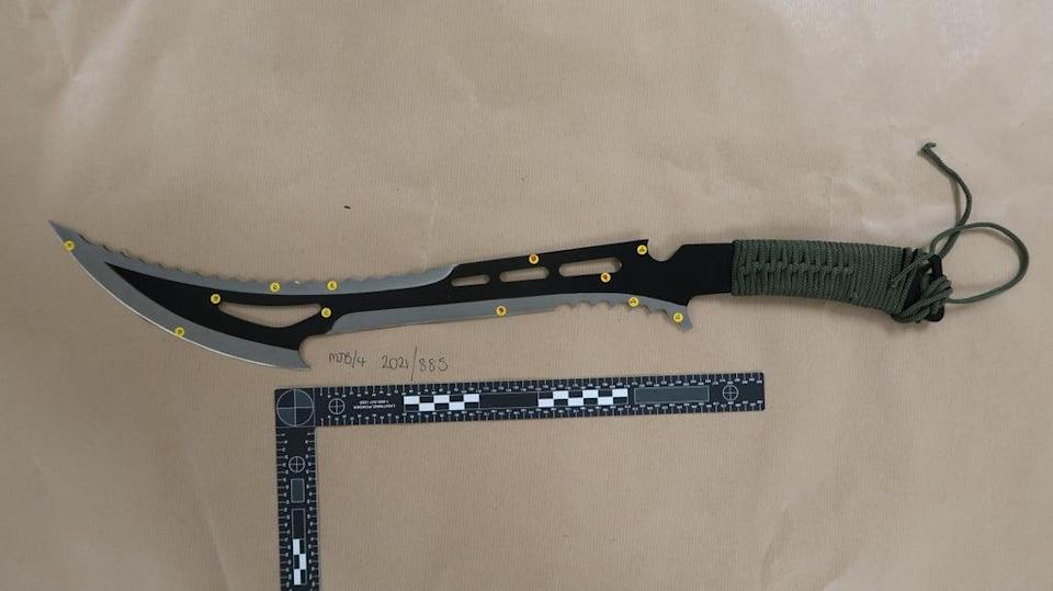 A knife wielded by one of the defendants (Metropolitan Police/PA)