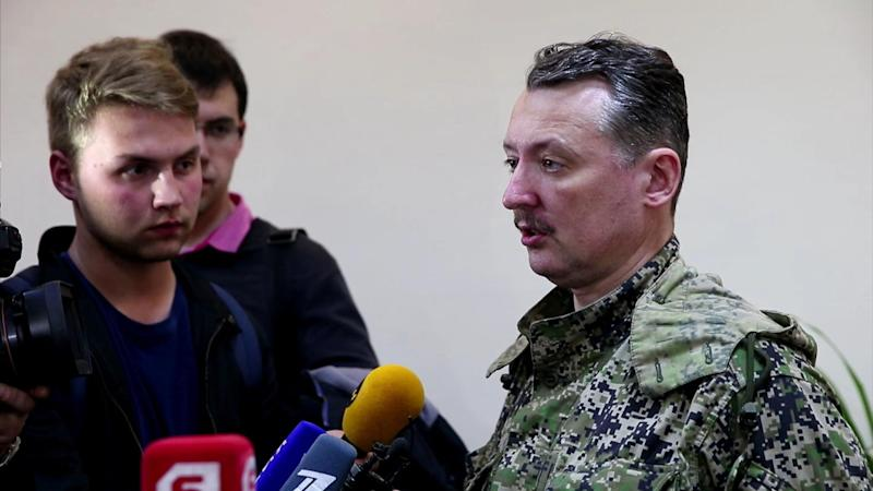 "This image taken from Associated Press video shows Igor Strelkov, military commander of pro-Russian militias in Slovyansk talking to journalists in Slovyansk, Ukraine, Sunday, April 27, 2014. Strelkov has been identified as a Russian security services operative by Ukraine's government. In what appeared to be a closely vetted interview to Russian media, Strelkov did not directly deny the accusation, saying the uprising in Ukraine was being carried out by opponents of the ""Kiev junta"" — language similar in tone to that adopted by the Kremlin leadership. (AP Photo/Associated Press Video)"