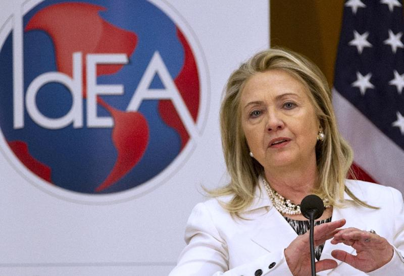 Secretary of State Hillary Rodham Clinton speaks at the Second Annual Global Diaspora Forum, Wednesday, July 25, 2012, at the State Department in Washington. (AP Photo/Jacquelyn Martin)