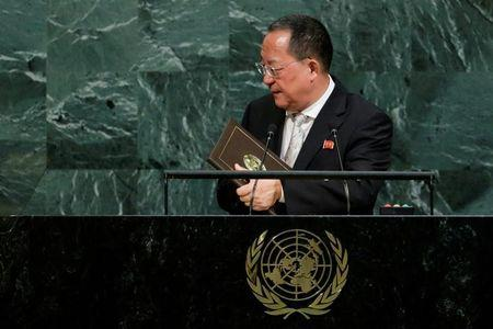 FILE PHOTO: North Korean Foreign Minister Ri Yong-ho departs after addressing the 72nd United Nations General Assembly at U.N. headquarters in New York, U.S., September 23, 2017. REUTERS/Eduardo Munoz/File Photo