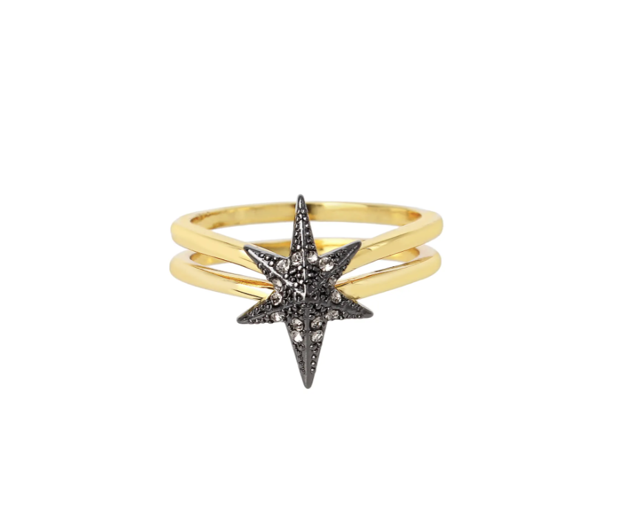 AllSaints Starburst Ring with black star and gold band