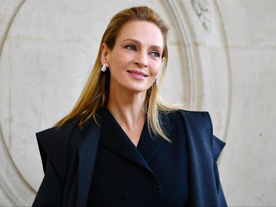 Uma Thurman at a fashion show in Paris on 20 January 2020 (CHRISTOPHE ARCHAMBAULT/AFP via Getty Images)