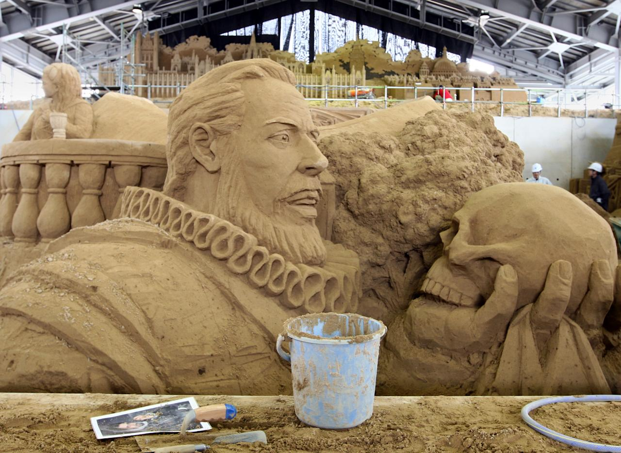 A sand replica titled 'British Literature William Shakespeare ' at Sand Museum located in the Tottori Dune on April 1, 2012 in Tottori, Japan. (Photo by Buddhika Weerasinghe/Getty Images)