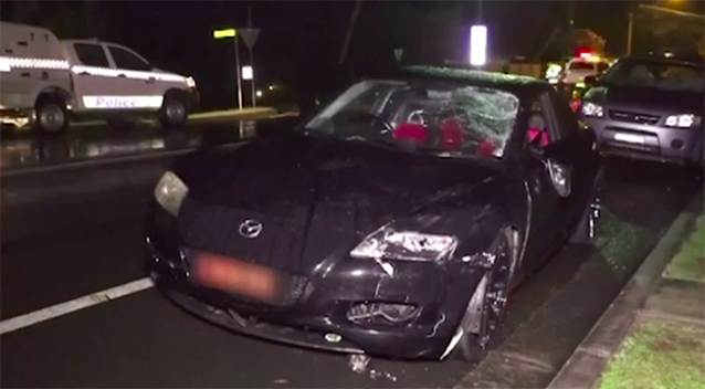 The 22-year-old driver was behind the wheel of the sports car when it struck Ms Daell. Source: 7 News
