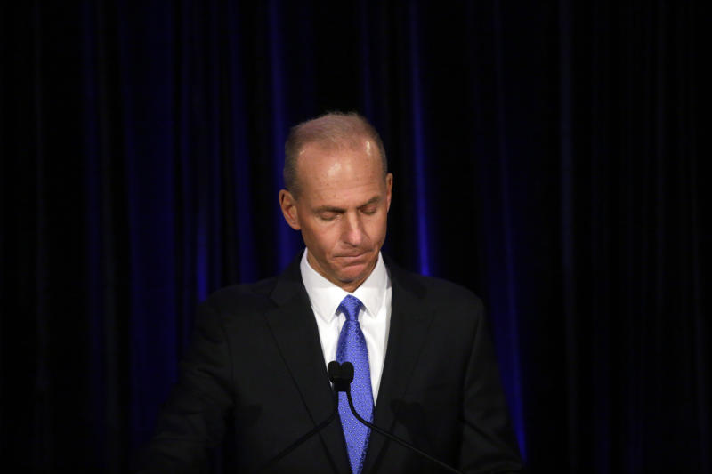 FILE - In this April 29, 2019, file pool photo Boeing Chief Executive Dennis Muilenburg speaks at a news conference after company's annual shareholders meeting at the Field Museum in Chicago. Muilenburg says that after Boeing finishes upgrading flight-control software on the Max, it will be one of the safest planes ever. Muilenburg is scheduled to testify Tuesday, Oct. 29, before a Senate committee, then again on Wednesday before a House panel. (Joshua Lott/The Washington Post via AP, Pool, File)