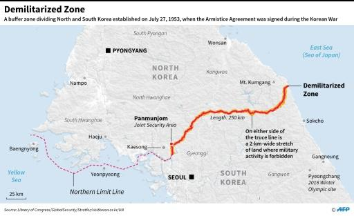 Map of the Demilitarized Zone that has divided the Korean peninsula since 1953