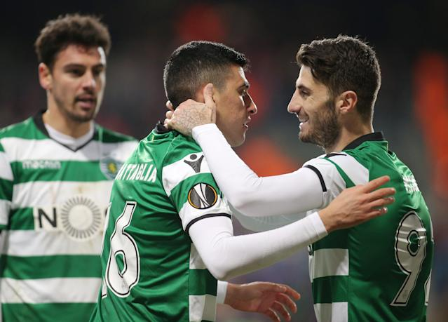 Soccer Football - Europa League Round of 16 Second Leg - Viktoria Plzen vs Sporting CP - Doosan Arena, Plzen, Czech Republic - March 15, 2018 Sporting's Rodrigo Battaglia celebrates with Cristiano Piccini after scoring their first goal REUTERS/Milan Kammermayer