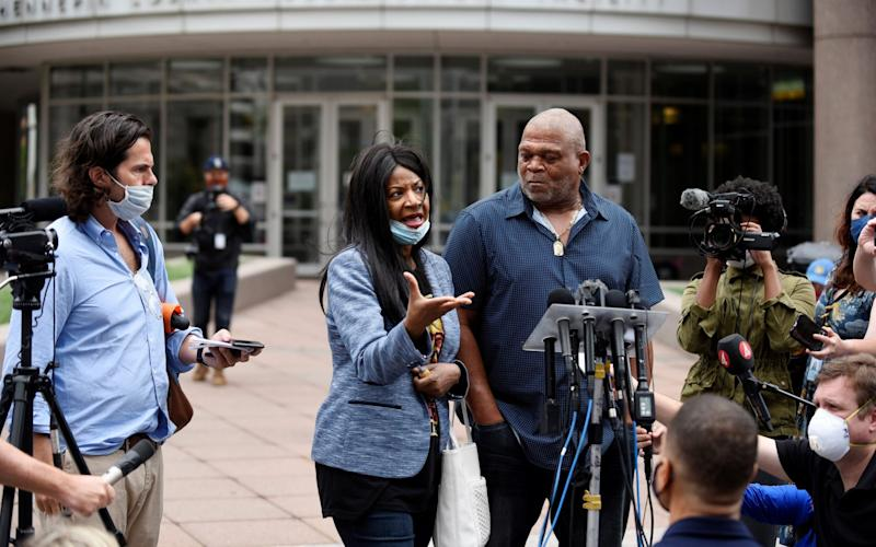 Angela Harrelson addresses the media after a court hearing in the case against Derek Chauvin in Minneapolis - Reuters