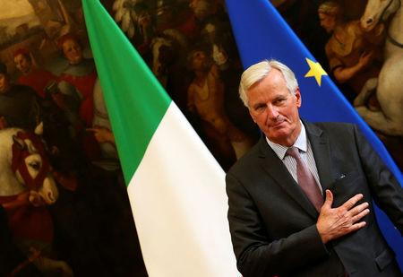 European Union's chief Brexit negotiator Michel Barnier arrives to meet Italy's Prime Minister Paolo Gentiloni in Rome, Italy September 21, 2017.    REUTERS/Alessandro Bianchi