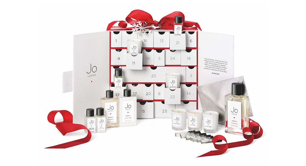 "<p>Perfume fanatics, we've found just the one for you. Priced at £250, the first beauty advent calendar from Jo Loves (a spin-off brand from Jo Malone) features 24 minature goodies. On Christmas Day, you can even trade in a token for your favourite 100ml scent. Merry Christmas! Available <a rel=""nofollow"" href=""https://www.joloves.com/"">online</a> and in store from November 5. </p>"
