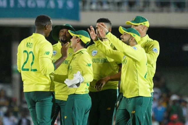 Man of the moment: South Africa's Lungi Ngidi celebrates with teammates (AFP Photo/RODGER BOSCH)