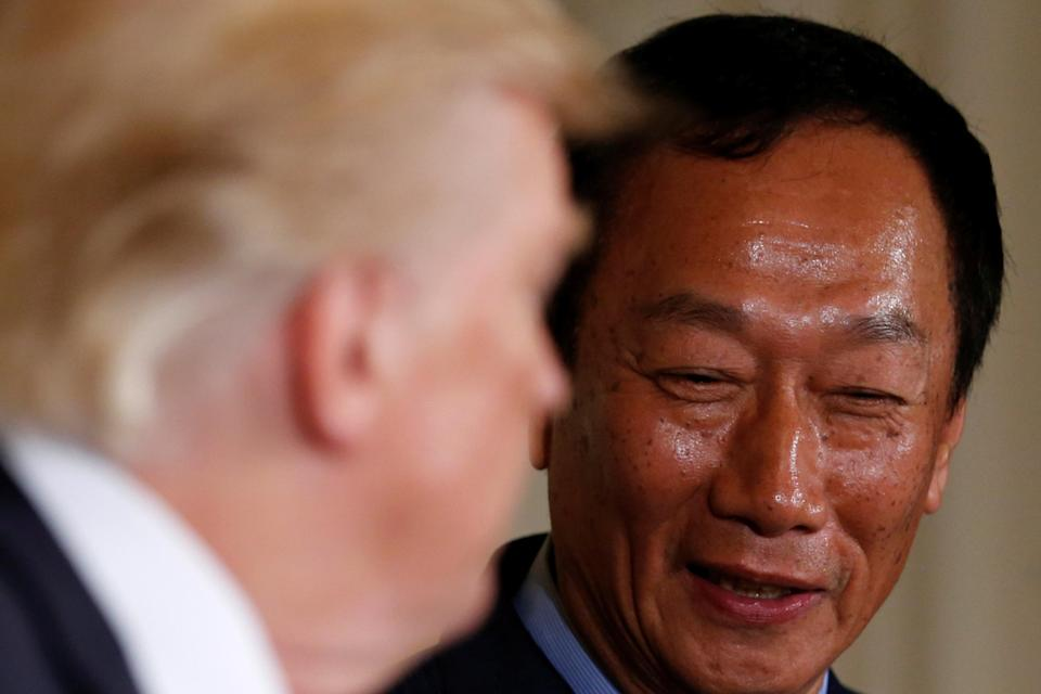 Foxconn's Gou smiles as Trump delivers remarks on his investment on Wednesday.