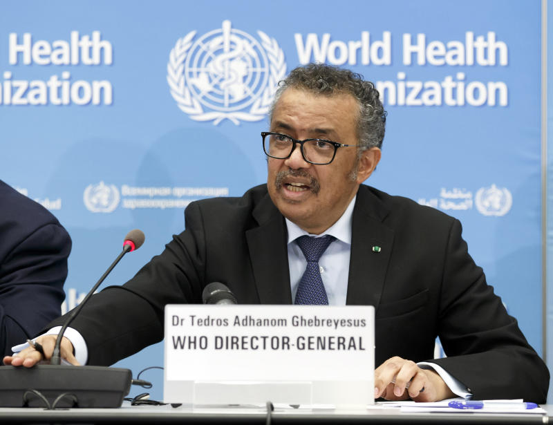 Tedros Adhanom Ghebreyesus, Director General of the World Health Organization (WHO), addresses a press conference about the update on COVID-19 at the World Health Organization headquarters in Geneva, Switzerland, Monday, Feb. 24, 2020. (Salvatore Di Nolfi/Keystone via AP)