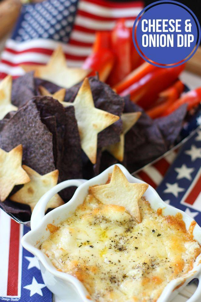 """<p>Start off your meal with this cheesy, patriotic pleaser.</p><p><strong>Get the recipe at <a href=""""http://pizzazzerie.com/holidays/4th-of-july-appetizer-recipe-chips-cheese-dip/"""" rel=""""nofollow noopener"""" target=""""_blank"""" data-ylk=""""slk:Pizzazzerie"""" class=""""link rapid-noclick-resp"""">Pizzazzerie</a>.</strong></p>"""