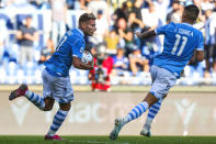 Lazio's Ciro Immobile celebrates after scoring during the Serie A soccer match between Lazio and Atalanta at the Rome Olympic stadium, Saturday, Oct. 19, 2019. (Angelo Carconi/ANSA via AP)