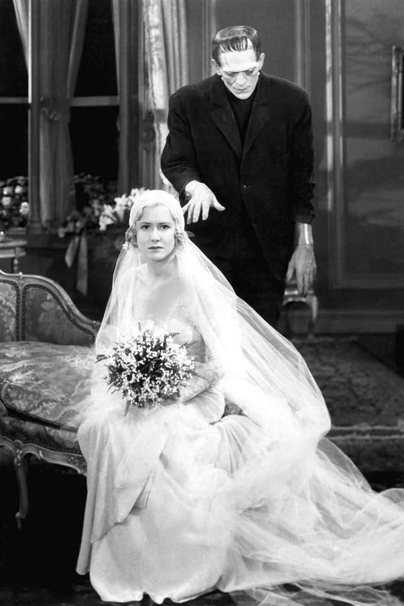 <p>Mae Clarke wore a classic long-sleeve lace gown and a long tulle veil for Elizabeth Lavenza's wedding to Henry, the monster's creator. Although her wedding didn't go as originally planned, it worked out in the end.</p>