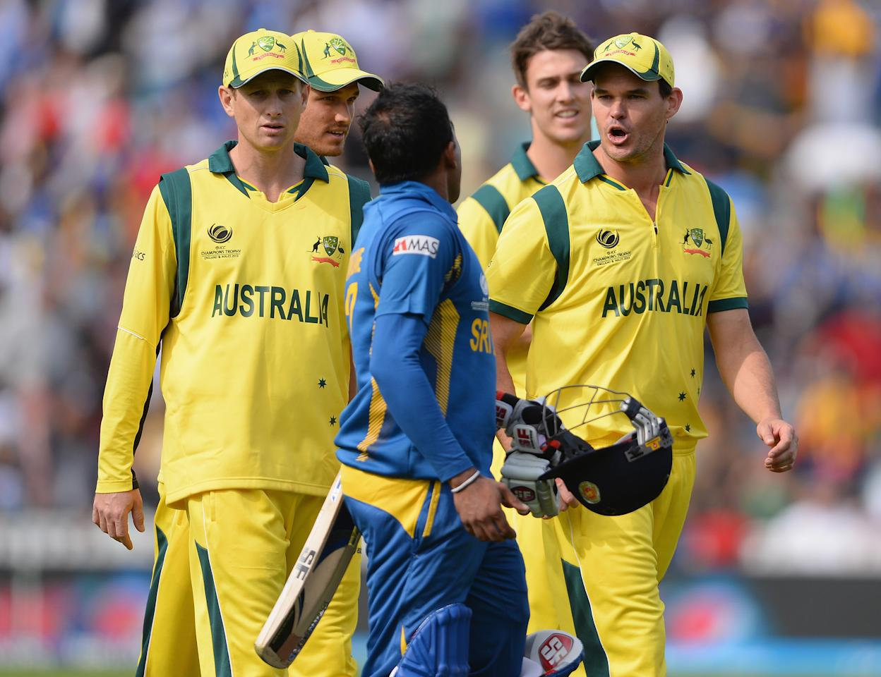 LONDON, ENGLAND - JUNE 17:  Words are exchanged between Clint McKay of Australia and Mahela Jayawardena of Sri Lanka is restrained by the Australian captain George Bailey at the end of the Sri Lankan innings during the ICC Champions Trophy Group A fixture between Sri Lanka and Australia at The Kia Oval on June 17, 2013 in London, England.  (Photo by Mike Hewitt/Getty Images)