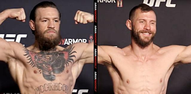 UFC 246 official weighin McGregor Cowboy split screen