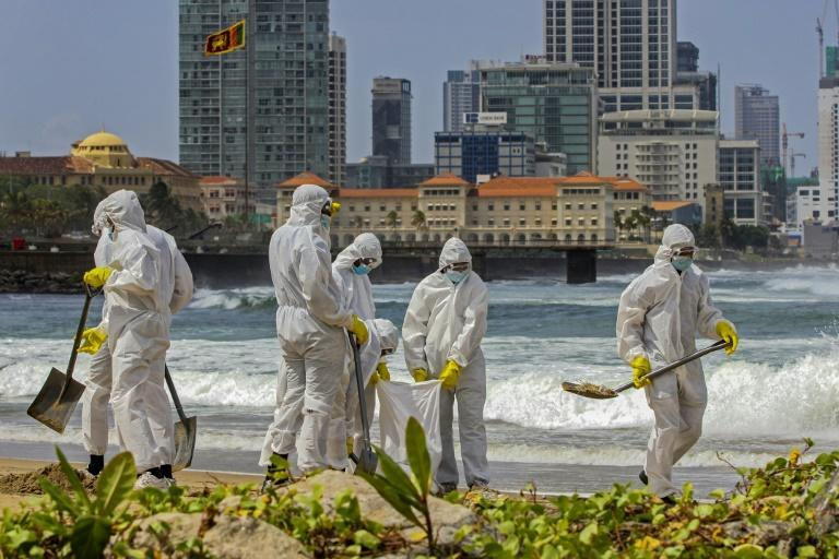 Members of Sri Lankan Navy were deployed for a mammoth clean-up operation