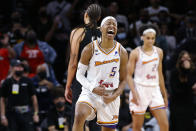 Phoenix Mercury guard Shey Peddy (5) reacts after drawing a foul from the Las Vegas Aces late in the second half of Game 5 of a WNBA basketball playoff series Friday, Oct. 8, 2021, in Las Vegas. The Mercury won 87-84. (AP Photo/Chase Stevens)