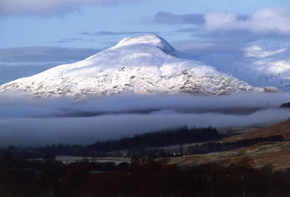 Morning cloud surrounds an outlier of mighty Ben Cruachan in this view from near the village of Dalmally Argyll.