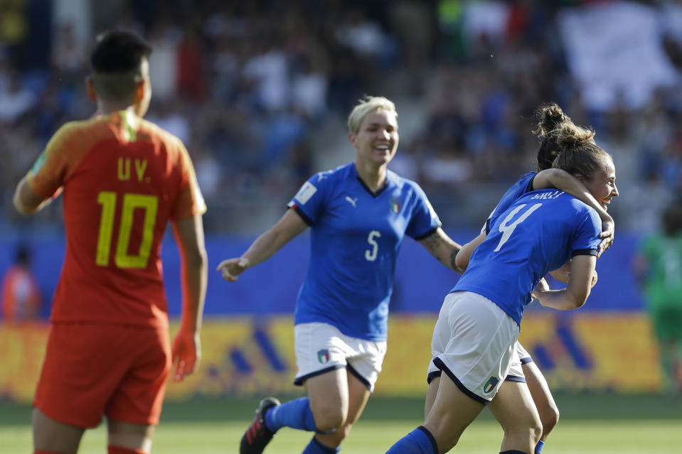 Italy's Aurora Galli, right, celebrates with teammates after scoring their side's second goal during the Women's World Cup round of 16 soccer match between Italy and China at Stade de la Mosson in Montpellier, France, Tuesday, June 25, 2019. (AP Photo/Claude Paris)