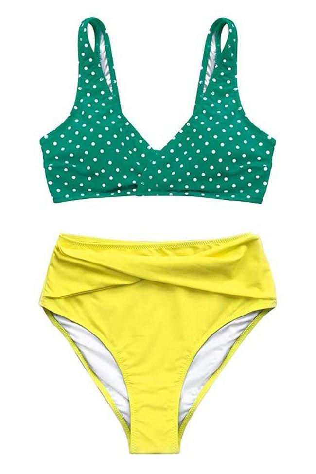 "Whether you opt for this green and yellow suit or the multi-color option, you won't be disappointed. Reviewers say that this swimsuit fits great and it's great quality considering the low price. $29, Amazon. <a href=""https://www.amazon.com/CUPSHE-Womens-Waisted-Bikini-Swimwear/dp/B07MX8LPWH/"" rel=""nofollow noopener"" target=""_blank"" data-ylk=""slk:Get it now!"" class=""link rapid-noclick-resp"">Get it now!</a>"
