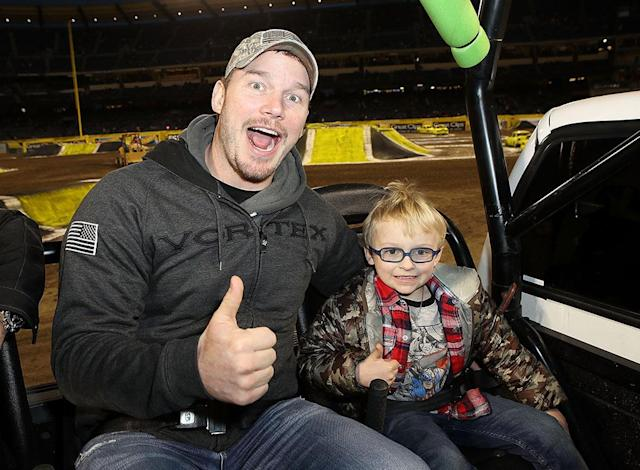 <p>The doting dad took son Jack for a truck-filled day of fun on Saturday at the Monster Jam Celebrity Event at Angel Stadium in Anaheim, Calif. (Photo: Ari Perilstein/Getty Images for Feld Entertainment) </p>