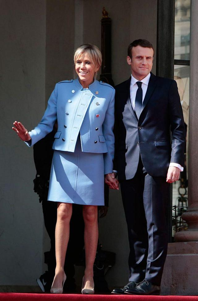 Brigitte and Emmanuel Macron at the French president's inauguration on Sunday. (Photo: Getty Images)