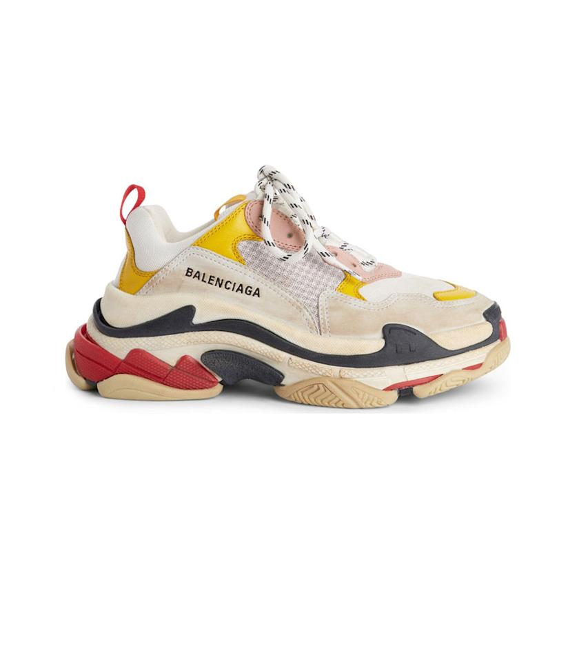 "<p>Triple S Low Sneaker, $895, <a rel=""nofollow"" href=""https://shop.nordstrom.com/s/balenciaga-triple-s-low-top-sneaker-women/4972723?origin=category-personalizedsort&breadcrumb=Home%2FBrands%2FWomen&color=white%2F%20yellow%2F%20rose"">nordstrom.com</a> </p>"