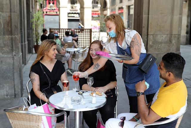 Bar terraces open with the phase 1 of the deconfinement in Barcelona, on 25th May 2020. (Photo by Joan Valls/Urbanandsport /NurPhoto via Getty Images)