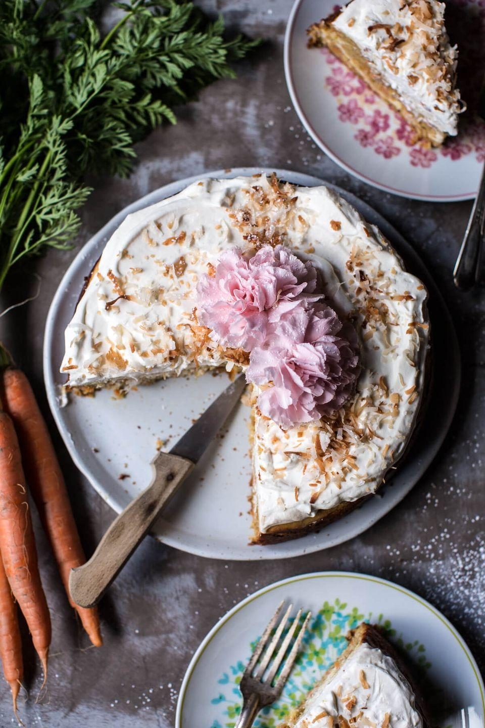"<p>You'll get the best of both worlds — cheesecake and carrot cake — with this decadent dessert.</p><p><em><a href=""http://www.halfbakedharvest.com/coconut-carrot-cake-cheesecake/"" rel=""nofollow noopener"" target=""_blank"" data-ylk=""slk:Get the recipe from Half Baked Harvest »"" class=""link rapid-noclick-resp"">Get the recipe from Half Baked Harvest »</a></em> </p>"