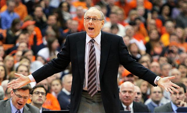 Head coach Jim Boeheim of the Syracuse Orange reacts after a play during the game against the Notre Dame Fighting Irish at the Carrier Dome on February 4, 2013 in Syracuse, New York. (Photo by Nate Shron/Getty Images)